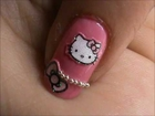 Hello Kitty EASY nail designs for long / short nails- easy nail art tutorial beginners DIY