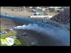 Kurt Bush Kasey Kahne Denny Hamlin Crash Phoenix Sprint Cup Race 2010.mpg
